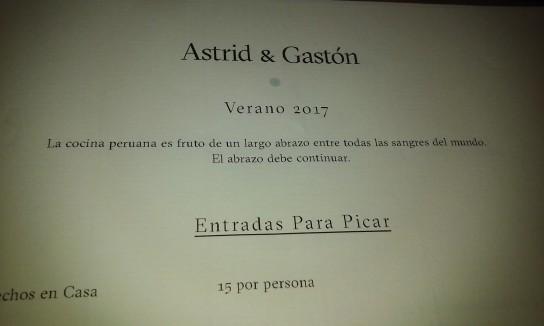 """La carta de Astrid & Gastón, gran símbolo de la comida peruana. """"La cocina es fruto de un largo abrazo entre todas las sangres del mundo""""."""